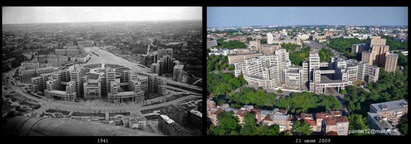 Аэрофотосъемка Харькова (ГОСПРОМ) ВОВ люфтваффе 1941 год и современная аэрофотосъемка 2009 год