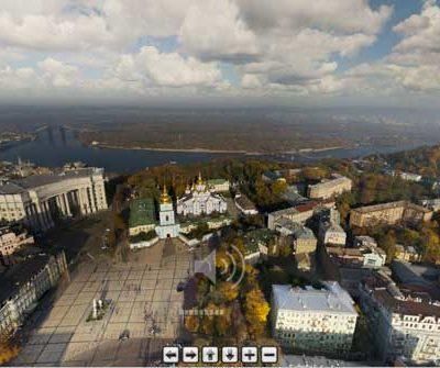 Аэрофотосъемка панорама Киева с высоты