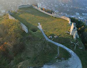 Съемка с дрона Аэрофотосъемка замок Кременец. Тернопольская область, Украина