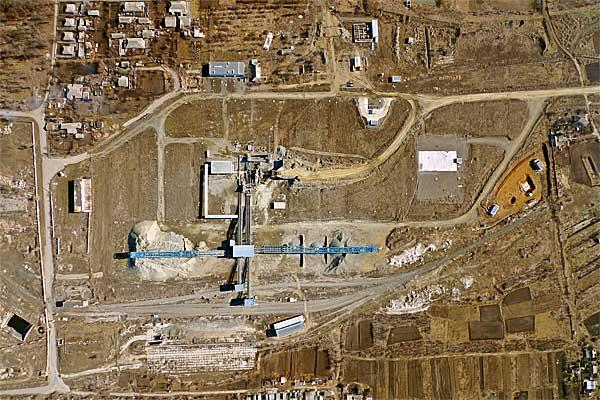 Плановая аэрофотосъемка промплощадки. Длина участка 1200 метров