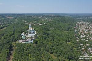 Съемка с дрона Аэрофотосъемка Полтавы. Крестовоздвиженский монастырь с южной стороны