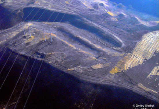Аэрофотосъемка последствий выжигания травы.