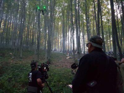 Съемка с дрона в лесу