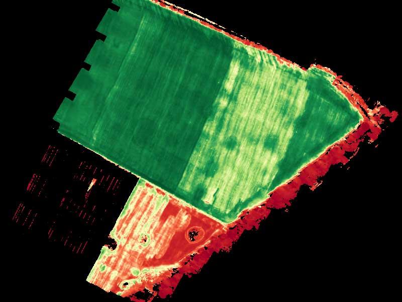 Стресс на поле по данным мультиспектральной съемки