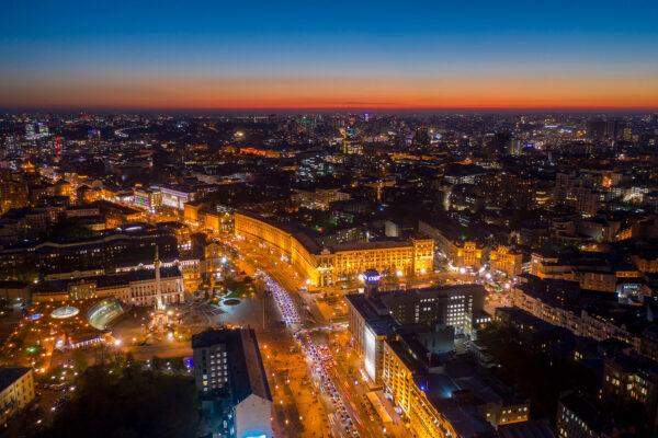 Ночная аэрофотосъемка Киева. Крещатик