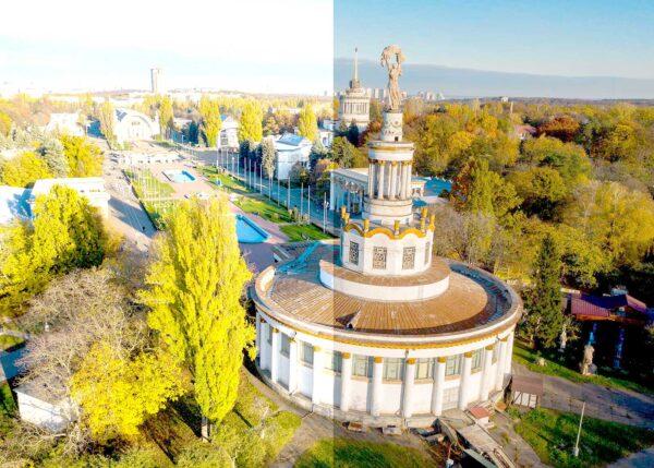 Пример пересвеченного снимка. Аэрофотосъемка. Киев.